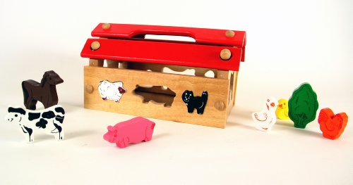 41CGttT12zL Cheap Price Wooden Animal House With Removable Farm Animal Pieces