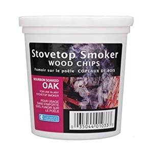 Wood Smoking Chips - 1 Pint of Bourbon Soaked Oak Wood Chips (Fine) for Smokers - 100% Natural by Camerons Products