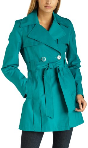 Via Spiga Women's Double Breasted Belted Spring Trench Coat With Pleated Back,Turquiose,Medium