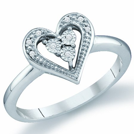 Diamond Heart Ring Promise Fashion Band 10k White Gold (0.02ct), size 5