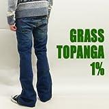 (グラス)grass 「TOPANGA 1%」スーパースリム・ローライズフレアジーンズ ダークブルー