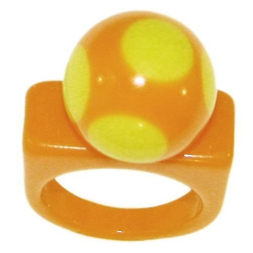 2 Tone Acrylic Ring with Polka Dot Ball, 7 In Orange with Yellow Finish