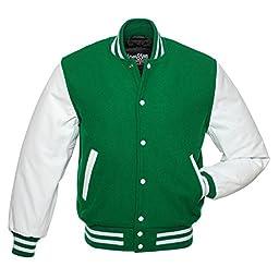 C106-2XL Kelly Green Wool White Leather Varsity Jacket Letterman Jacket
