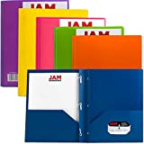 JAM Paper® Eco Friendly Biodegradable 2 Pocket Plastic School Presentation Folders with Metal Clasps (Back To School Deal!) - Assorted Colors - Pack of 6 Folders