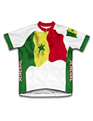 Senegal Flag Short Sleeve Cycling Jersey for Women