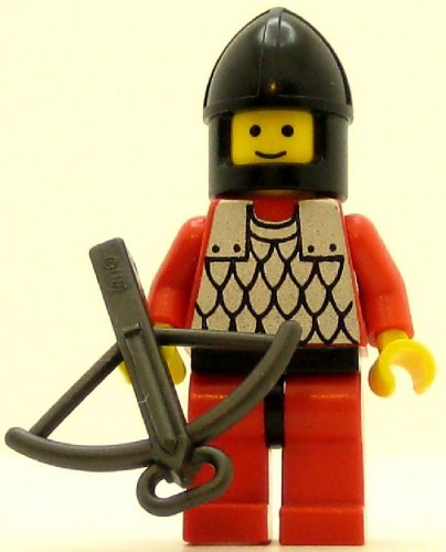 LEGO Castle Minifig Scale Mail Red with Red Arms Black Chin-Guard - 1