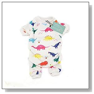 Cutebone Dog Pajamas Dinosaur+Elephant Dog Apparel Dog Jumpsuit Pet Clothes Onesie Pajamas Z01(L)
