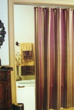 Nice Chapel Hill Brandon Stripe Shower Curtain Burgundy Gold Olive