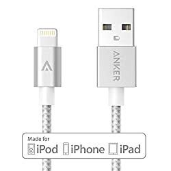 【改善版】【Apple認証 (Made for iPhone取得)】 Anker 第2世代 高耐久ナイロン ライトニングUSBケーブル iPhone 6/5/iPad Air/ iPad mini/ iPod用 絡み防止 耐熱アルミコンパクト端子 (シルバー 0.9m) A7136041