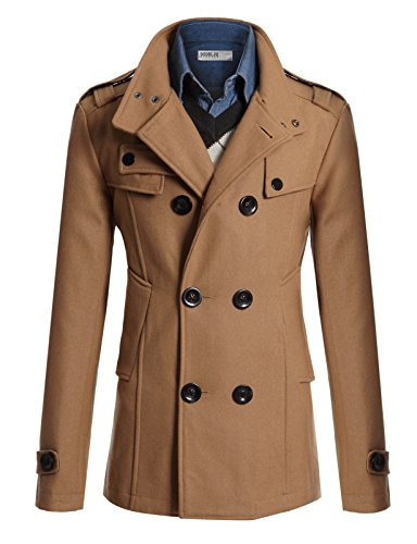 Doublju Mens Wool Slim Double Breasted Half Trench Coat