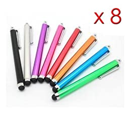 tedim® 8 x Universal Capacitive Stylus Pen for ipad 1, 2, 3, 4, mini ipad, iPhone 4, iphone 5, Google Nexus, Microsoft Surface Tablet, Samsung Galaxy S2, S3, Note, Mobile Phones, HTC, LG, Nokia, Tablet pc, Asus Transformer, Advent, Blackberry Playbook, Android Smart phones and all other Capacitive Screens Devices - Universal Stylus for Touchscreen - Assorted Colours