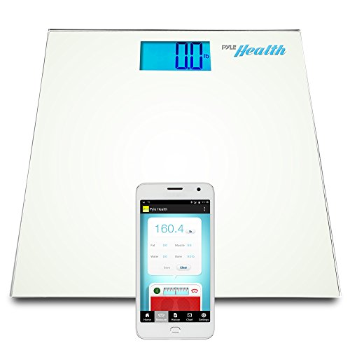 Pyle Smart Bathroom Body Scale with Bluetooth Wireless Smartphone Tracking for iPhone iPad & Android Devices (White)