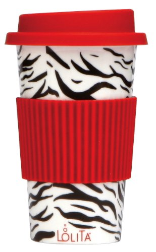 C.R. Gibson Lolita Porcelain To Go Cup/Mug, Wild Side, Red And Black