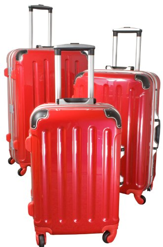 Polycarbonat-ABS-Kofferset Dublin 3tlg rot