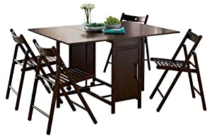 Dining table and four chairs dark room furniture chocolate - Fold away table and chairs ...