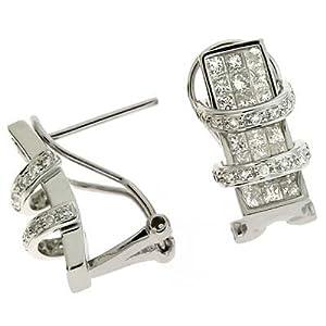 14k White 1.9 Ct Diamond Earrings - JewelryWeb