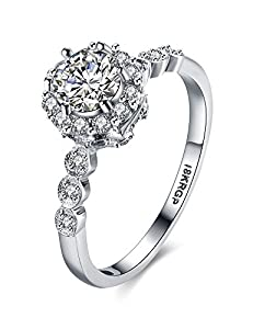 Pmany Cubic Zirconia Diamond Wedding Halo Solitaire Ring Platinum White Plated Ring for Women Four Prongs (Size 7)