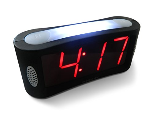 Travelwey LED Digital Alarm Clock - Large Night Light, Alarm, Snooze, Dimmer, 1.8 Inch Red Digits, Black (Red Digital Clock compare prices)