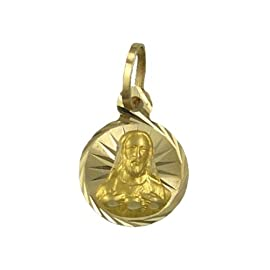 14K Yellow Gold Small Sacred Heart Charm Pendant 11mm Diameter
