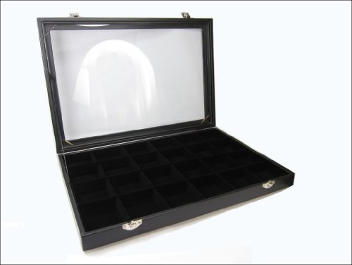 24 Compartment Black Velvet Liner Protable Jewellery Glass Top Display Box