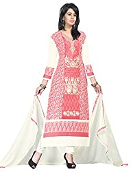 Justkartit Women's Red & Off-white Colour Dual Bottom Style Unstitched Salwar Kameez (Palazzo Pant OR Churidar) / Casual Wear Salwar Kameez