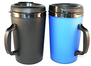 2 ThermoServ Foam Insulated Coffee Mugs 34 oz (1)Blue & (1)Black by ThermoServ