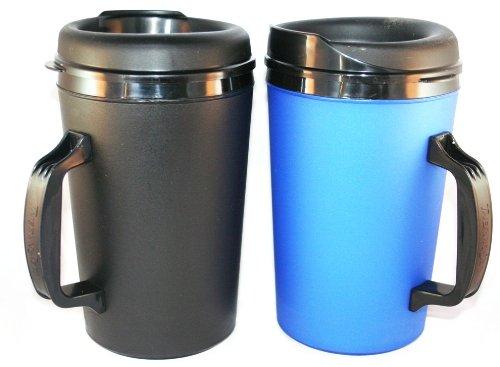 2 Thermoserv Foam Insulated Coffee Mugs 34 Oz (1)Blue & (1)Black