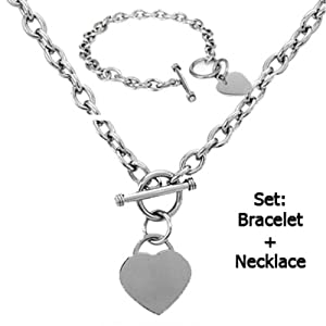 High Polished Stainless Steel Heart Chain Necklace and Bracelet Set with Toggle Clasp-Noureda