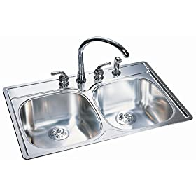 Kindred 9-1/2-Inch Deep Stainless Steel Double Bowl Kitchen Sink #DSK954-18