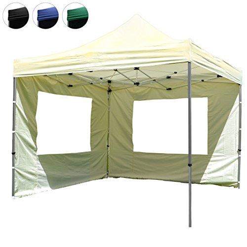 Hochwertiger Falt-Pavillon Partyzelt mit 2 Seitenteilen PROFI Ausführung für Garten Terrasse Feier Markt als Unterstand Plane wasserdichtes Dach 3 x 3 m champagner