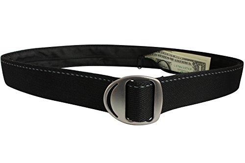 Bison Designs Crescent Money 38mm USA Made Gunmetal Buckle Travel Belt, Black, Large/42-Inch
