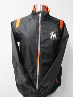 G-III Miami Marlins Womens Large Full Zip Screened Windbreaker Jacket AFML1 L