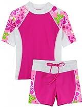 Tuga Girls Seaside S/S & Shorts (UPF 50+), Rosita, 6/7 yrs