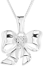 Ornami Sterling Silver and Clear Cubic Zirconia Set Bow Pendant on Chain of 46cm