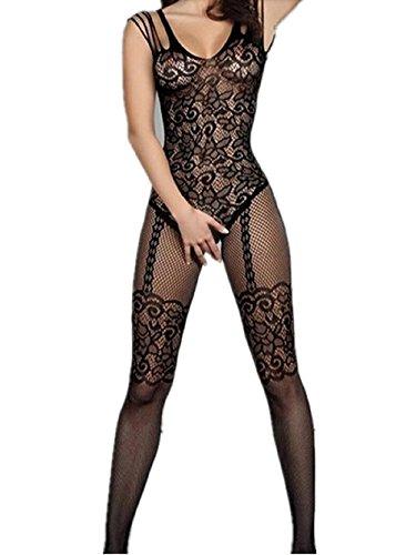 2891649736 Amstt Women lingerie Lingerie Fishnet Floral crotchless Bodystockings  Babydoll Bodysuits