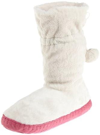 Betsey Johnson Women's Flirty Fur Slipper Boot, Cream, Small (5-6)