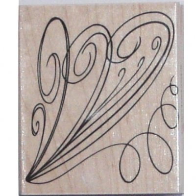 Flowing Flourish Wood Mounted Rubber Stamp (H5014)
