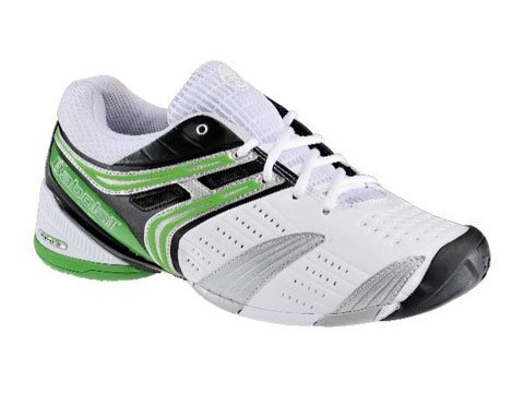 BABOLAT V-Pro Omni Men's Tennis Shoes, White/Black/Silver/Green, UK9.5