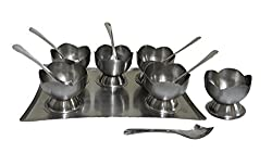 Set of 13 Dessert combo gifting set - 1 Tray, 6 cups, 6 spoons