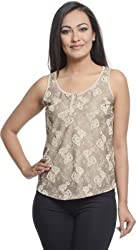 Addyvero Casual, Sports, Party Sleeveless Embellished Women's Gold Top