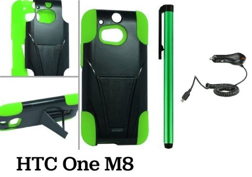 Htc One M8 Premium Pretty T-Stand Design Protector Hard Cover Case (2014 Q1 Released; Carrier: Verizon, At&T, T-Mobile, Sprint) + Car Charger + 1 Of New Assorted Color Metal Stylus Touch Screen Pen (Green / Black)
