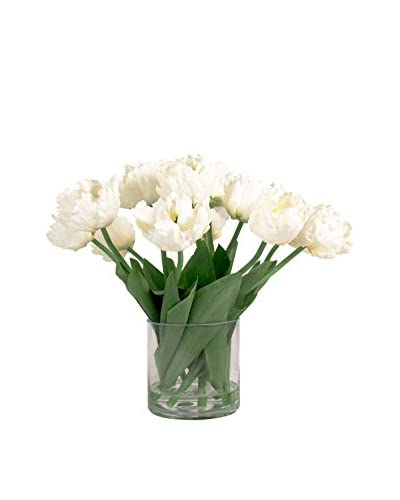Creative Displays Tulip Bouquet in Glass Container, Green/White