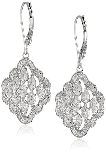 Sterling Silver Multi-Marquise Design Diamond (1/4Cttw, I-J Color, I2-I3 Clarity) Drop Earrings