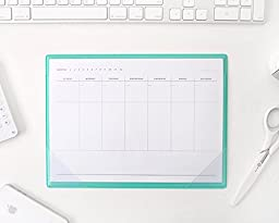 Simple Desktop Weekly Planner Pad Undated Calendar Desk Pad Organizer Schedule Agenda Clear PVC Cover Mouse Pad To do list notepad, 28 Sheets, 10.6\