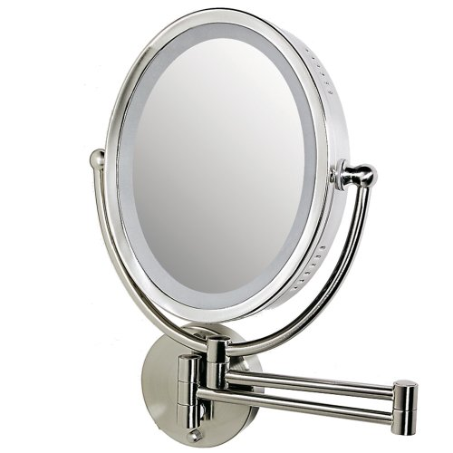 Zadro 8X/1X Dimmable Lighted Oval Wall Mount Makeup Vanity Mirror Satin Nickel