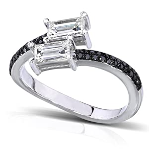 7/8ct TW One-of-a-Kind Black and White Diamond Ring in 14k White Gold - Size 6