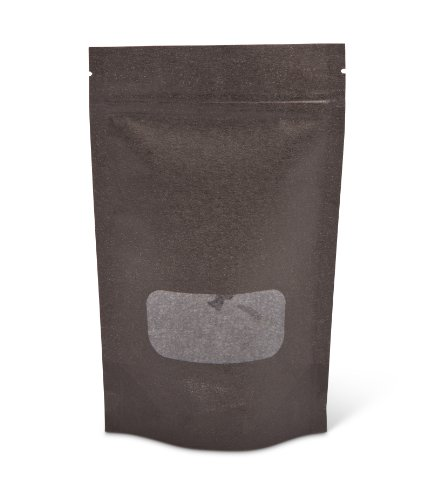 Pacific Bag 430-211BW Stand-Up Pouch, 4 oz, Black Rice Paper with Zipper and Window (Case of 500) (Rice Paper Pouches compare prices)