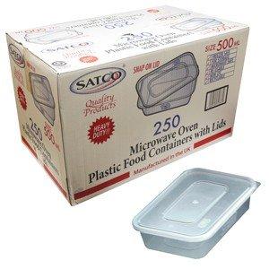 GSL Lot de 10 petits récipients en plastique réutilisables allant au micro-ondes et au congélateur avec leur couvercle Idéal pour plats préparés, chili, pâtes, riz, curry, pommes de terre, plats à emporter 500 ml
