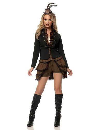 Mystery House Women's Plus-Size Steampunk Lady Deluxe, Brown/Black, Small