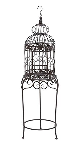 Benzara Victorian Style Bird Cage With Wrought Iron